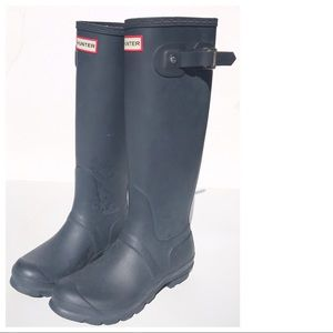 HUNTER blue tall Boots 38 7 rain rubber Wellies